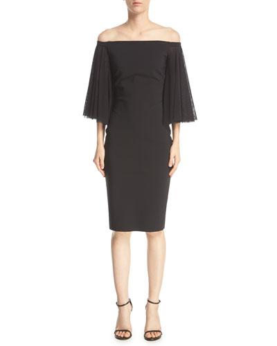 Off-the-Shoulder Full-Sleeve Sheath Dress