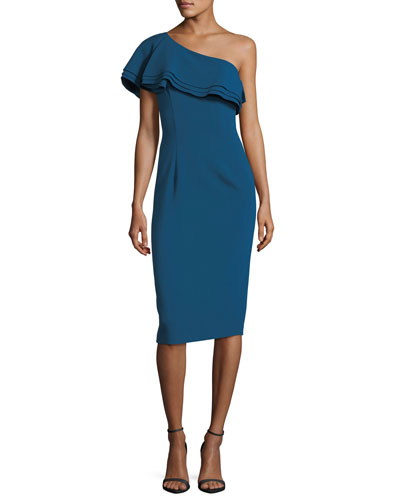 Melbourne One-Shoulder Crepe Sheath Cocktail Dress