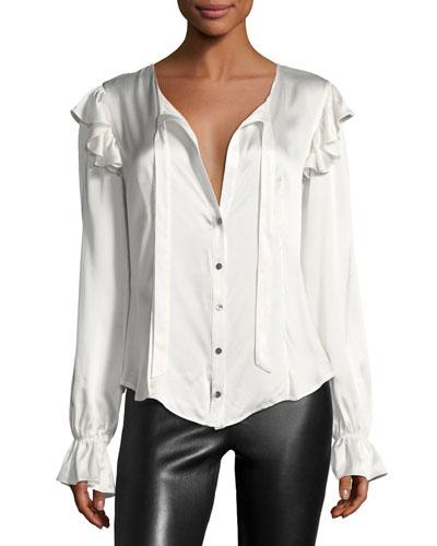 Cassanova Tie-Neck Button-Front Silk Satin Blouse