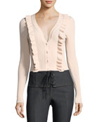 Noya V-Neck Button-Front Ribbed Cardigan