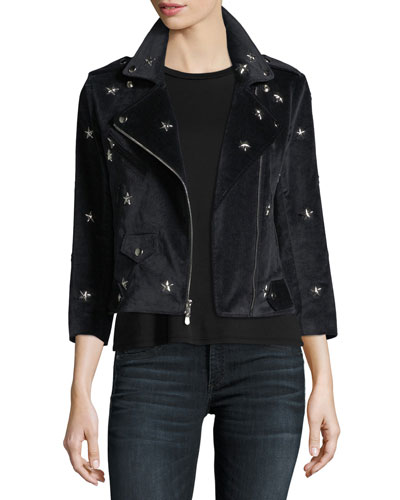 Wes Faux-Suede Moto Jacket w/ Star Studs