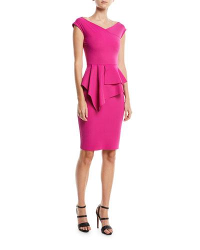 Tini Asymmetric Peplum Sheath Dress