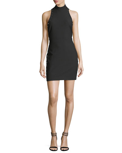 Ava Mock-Neck Fitted Crepe Dress with Grommets