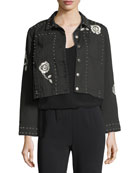 cinq a sept Fatima Button-Front Denim Jacket with