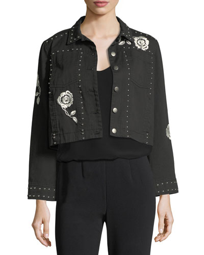 Fatima Button-Front Denim Jacket with Embroidery and Studded Trim