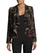 Draped Front Boucle Jacket
