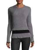 Ribbed Crewneck Long-Sleeve Wool Sweater