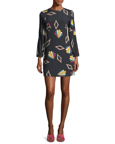 Crewneck Long-Sleeve Printed Mini Dress
