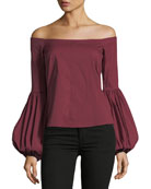 Gisele Off-the-Shoulder Poplin Blouse