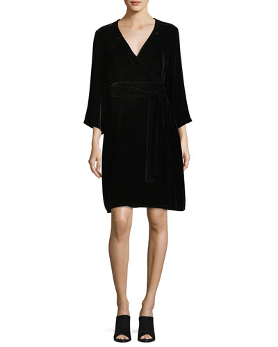 Velvet 3/4-Sleeve Wrap Dress, Petite