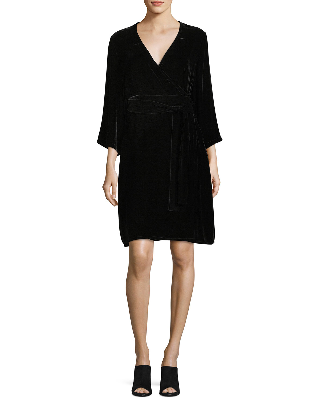 Velvet 3/4-Sleeve Wrap Dress
