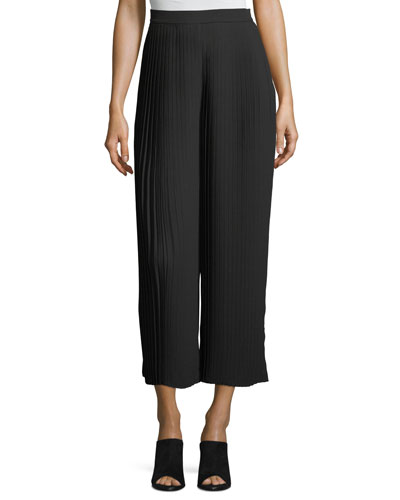 Knife-Pleated Wide-Leg Ankle Pants, Petite