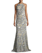 Mermaid Sequin & Velvet Long Evening Gown