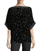 Geometric Burnout Velvet 3/4-Sleeve Top