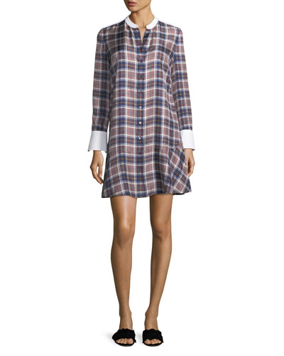 Cora Tartan Plaid Silk Shirtdress