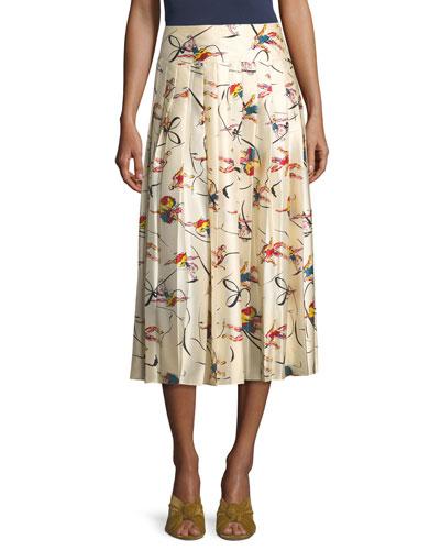 Vance Pleated Dance-Print Silk Midi Skirt