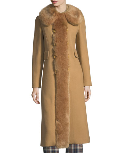 Celeste Double-Breasted Twill Coat w/ Faux-Fur Trim
