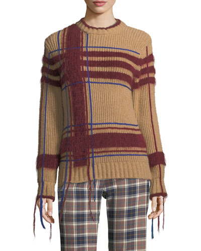 Eden Fuzzy Yarn-Trim Plaid Sweater