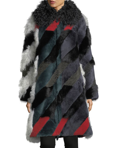 Morgan Shearling Intarsia Dogtooth Coat