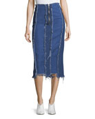 Ashley Frayed Midi Denim Pencil Skirt