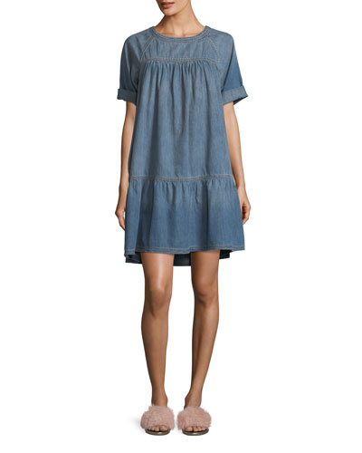 Denim Raglan Tee Dress