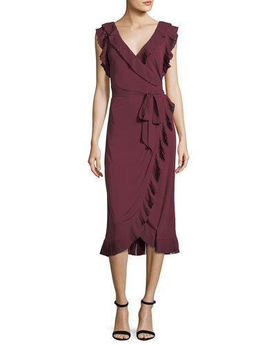 Whitney Ruffled Jersey Wrap Dress