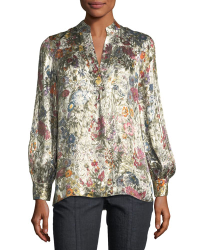 Heidi Metallic Floral Satin Tunic