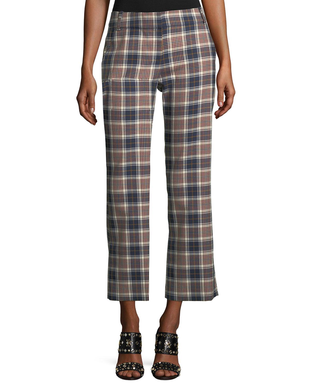 Garret Straight-Leg Plaid Pants