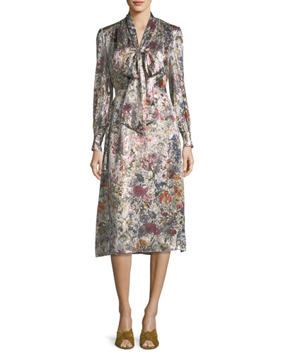 Vanessa Long-Sleeve Floral-Print Satin Dress
