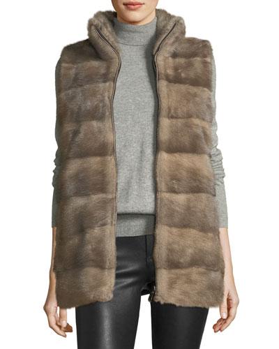 Wool Vest w/ Mink Fur Front Panels