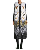Fabulous Furs Full-Length Chevron Faux-Fur Vest