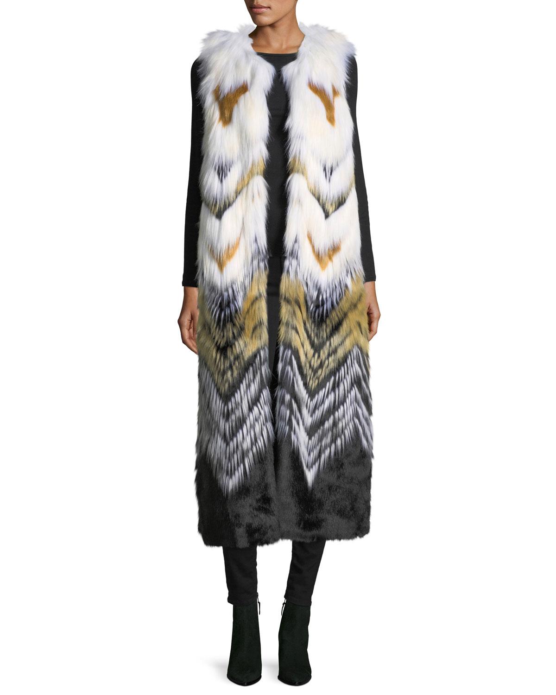 FABULOUS FURS Full-Length Chevron Faux-Fur Vest in Multi
