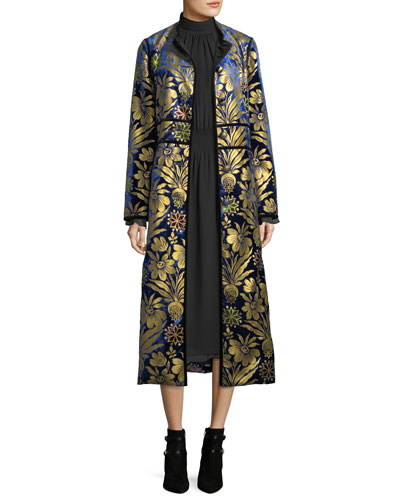 Thelma Cosmic-Foil Velvet Long Jacket