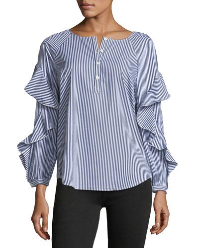 Crewneck Striped Ruffle-Sleeve Poplin Shirt