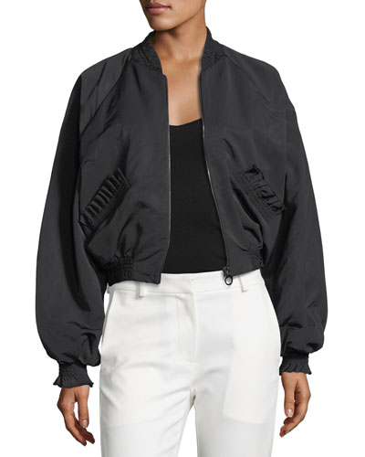 Phoenix Zip-Front Bomber Jacket w/ Ruffled Trim