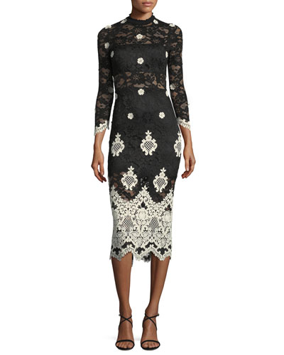 Helina Mock-Neck Lace Midi Dress