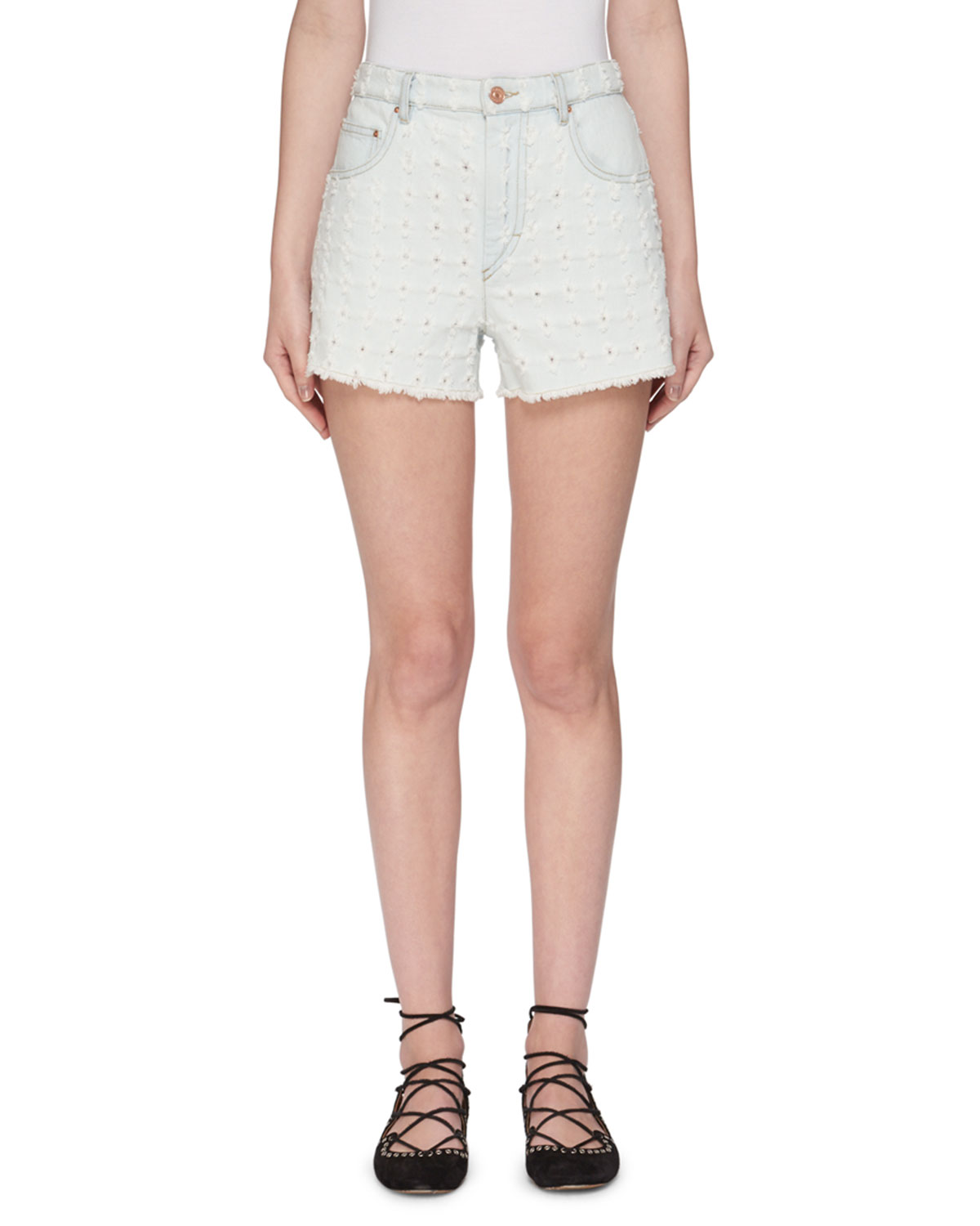 Celsa Perforated Denim Shorts