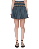 Breeda High-Waist Circular Chambray Skirt with Embroidery