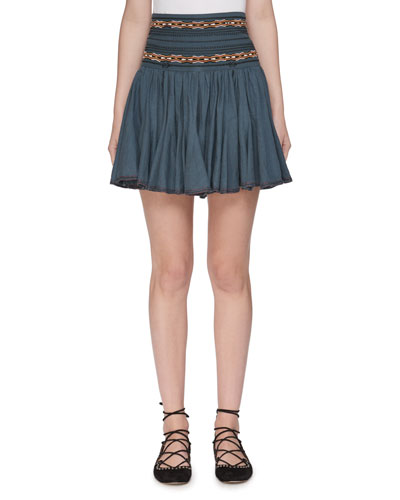 Breeda High-Waist Circular Chambray Skirt with Embroidery
