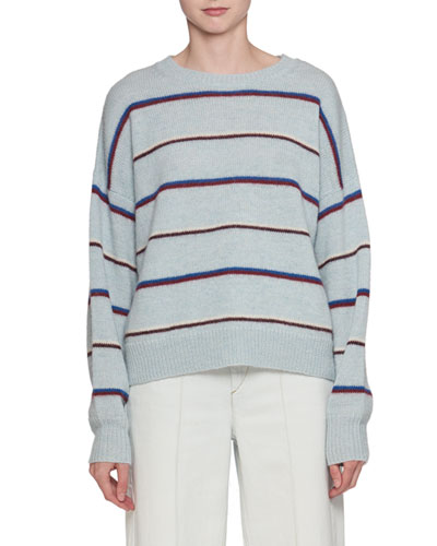 Gatlin Striped Alpaca-Wool Pullover Sweater