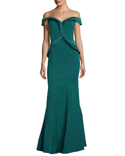 Embellished Off-the-Shoulder Evening Gown