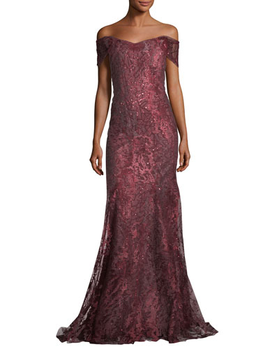 Off-the-Shoulder Embellished Metallic Tulle Evening Gown