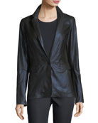 Lyndon Metallic Leather Blazer