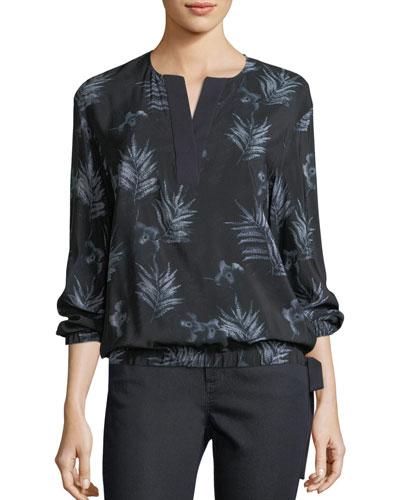 Joan Botanic Impression Silk Blouse