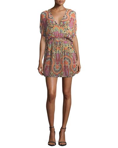 V-Neck Blouson Printed Coverup Mini Dress
