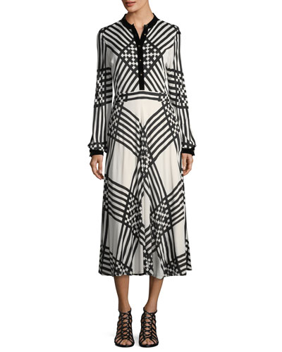Anja Duchess Striped Satin Dress
