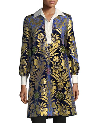 Thelma Long-Sleeve Cosmic Floral Foiled Velvet Dress
