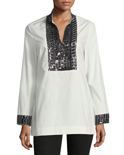 Contrast-Beaded Poplin Tunic