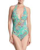 Printed Plunging One-Piece Halter Swimsuit