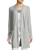 Sequin-Embellished Long Silk-Blend Cardigan